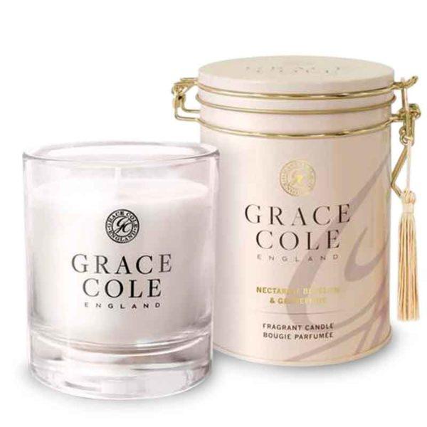 Ароматическая свеча Цветок нектарина и грейпфрут 200гр../Nectarine Blossom & Grapefruit — Grace Cole Уход за телом Фотография