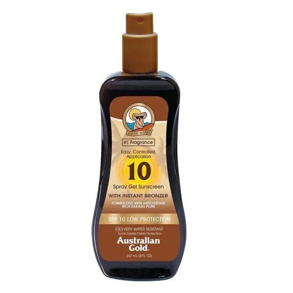 Водостойкий солнцезащитный спрей SPF 10 spray gel bronzer 237ml — Australian Gold Уход за телом Фотография