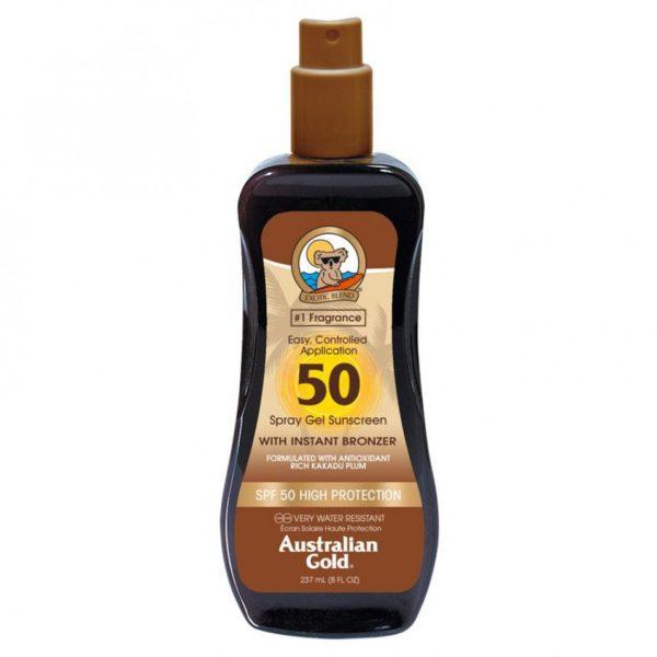 Водостойкий солнцезащитный спрей SPF 50 spray gel bronzer 237мл Уход за телом Фотография